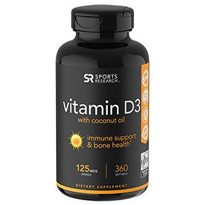 High Potency Vitamin D3 (5000iu125mcg) enhanced with Coconut Oil for Better Absorption ~ Bone