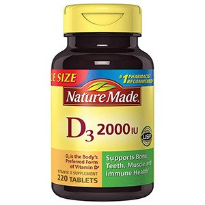Nature Made Vitamin D3 2000 IU Tablets 220 Ct Value Size by Nature Made
